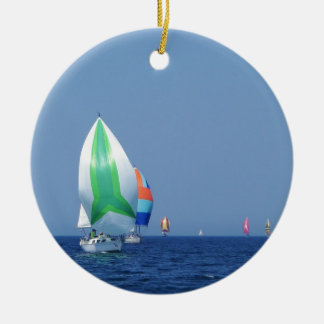Colourful Spinnakers Round Ceramic Decoration