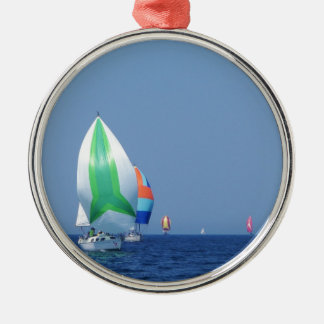 Colourful Spinnakers Silver-Colored Round Decoration
