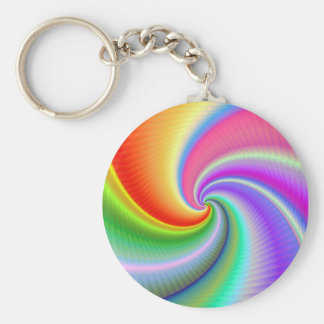 Colourful Spiral Fractal Keyring Basic Round Button Key Ring