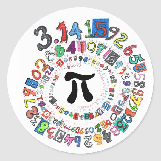 Colourful sPiral of Pi Calculated Classic Round Sticker