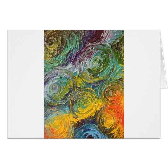 Colourful Spirals Abstract Painting Card