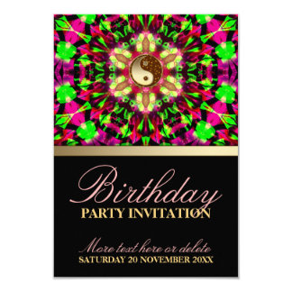 "Colourful Spirit Birthday Party Invitation 3.5"" X 5"" Invitation Card"