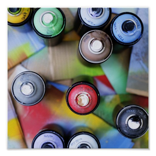 Colourful Spraycans Poster