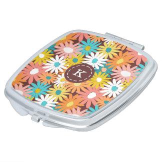 Colourful spring daisies monogram name makeup mirror