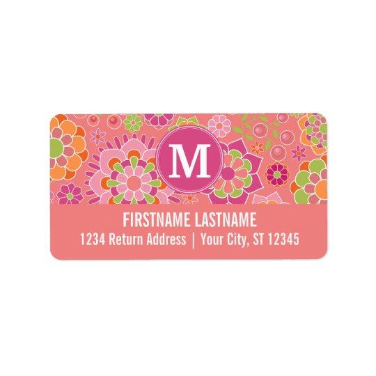Colourful Spring Floral Pattern Custom Monogram Address Label
