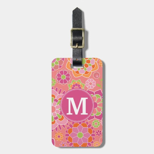 Colourful Spring Floral Pattern Custom Monogram Luggage Tag