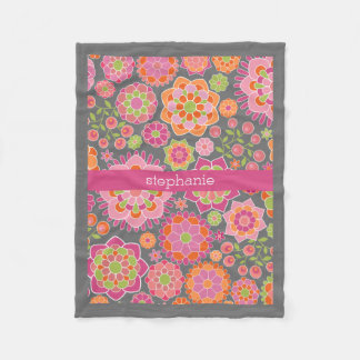 Colourful Spring Floral Pattern Custom Name Fleece Blanket
