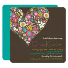 Colourful Spring Flowers Heart Bridal Shower Card
