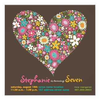 Colourful Spring Flowers Heart Love Birthday Invit