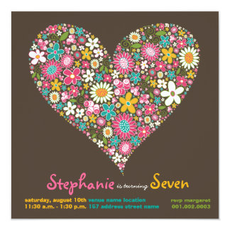 Colourful Spring Flowers Heart Love Birthday 13 Cm X 13 Cm Square Invitation Card
