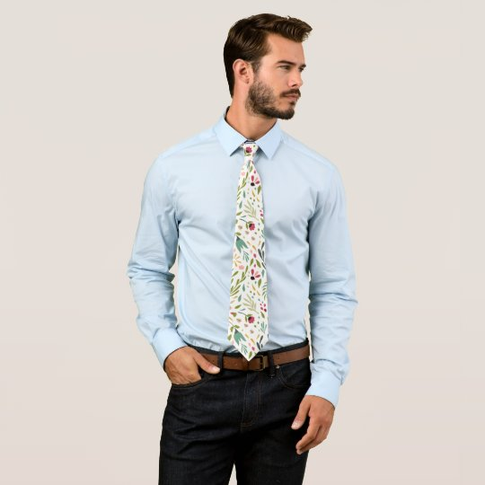 Colourful Spring Flowers & Leafs Pattern Tie