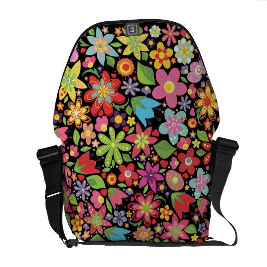 Colourful Spring Flowers Pattern Messenger Bag