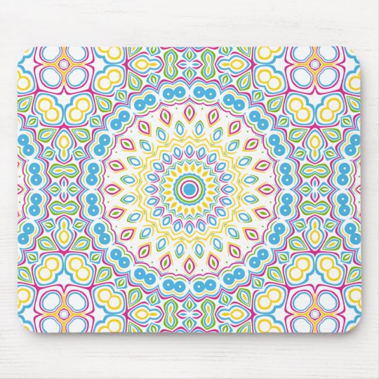 Colourful Spring Mandala Medallion Mouse Mat