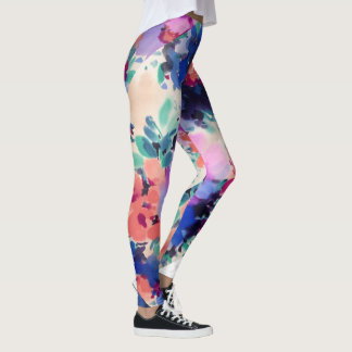 Colourful Spring Watercolor Flowers Leggings