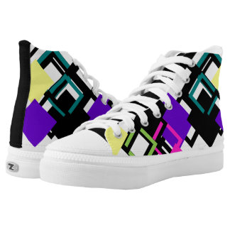 Colourful Square Complex Pattern High Top Shoes Printed Shoes