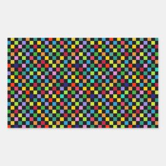 colourful square pattern rectangular sticker