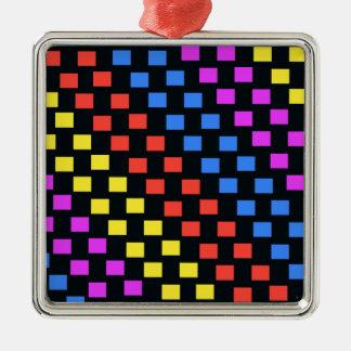 Colourful Squares Silver-Colored Square Decoration