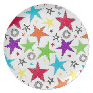 Colourful star Melamine Plate
