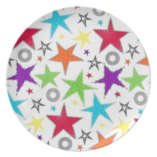 Colourful star Melamine Plate