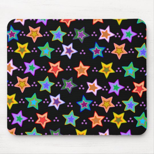Colourful star pattern mouse mat