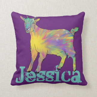 Colourful Starburst Art Goat Design with Your Name Cushion