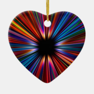 Colourful starburst explosion ceramic heart decoration