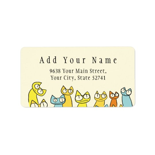 Colourful Staring lot Cats Address Label