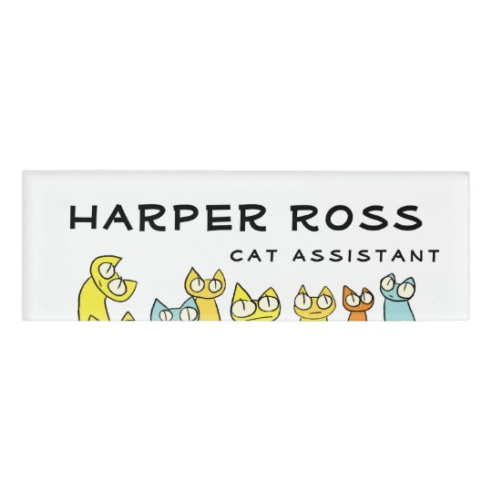 Colourful Staring lot Cats Name Tag