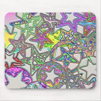 Colourful Stars Collage Mouse Pad