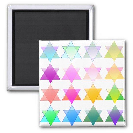 Colourful Stars of David Square Magnet