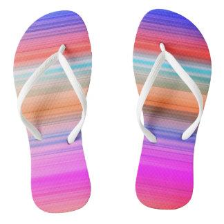 Colourful stripe beach flip flops
