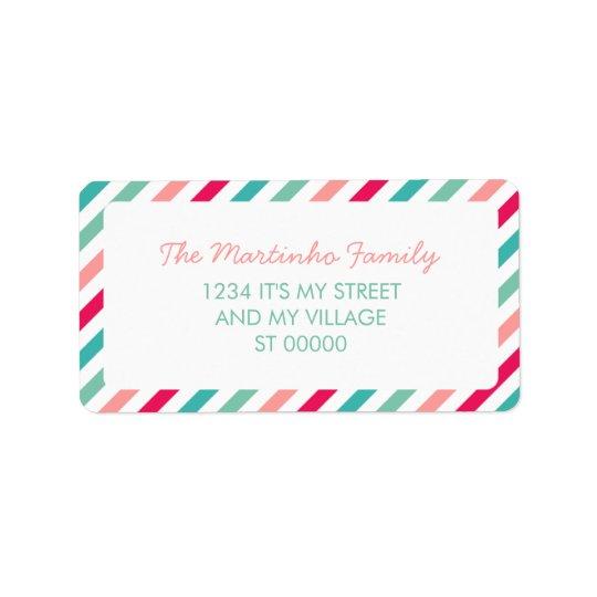 Colourful Stripes Aqua Blue Pink Diagonal Stripes Address Label