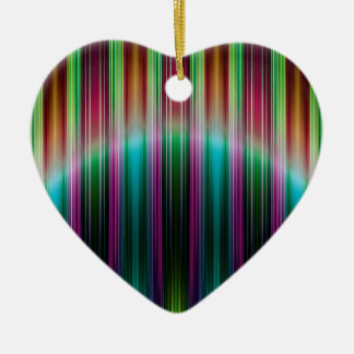 Colourful stripes pattern ceramic heart decoration