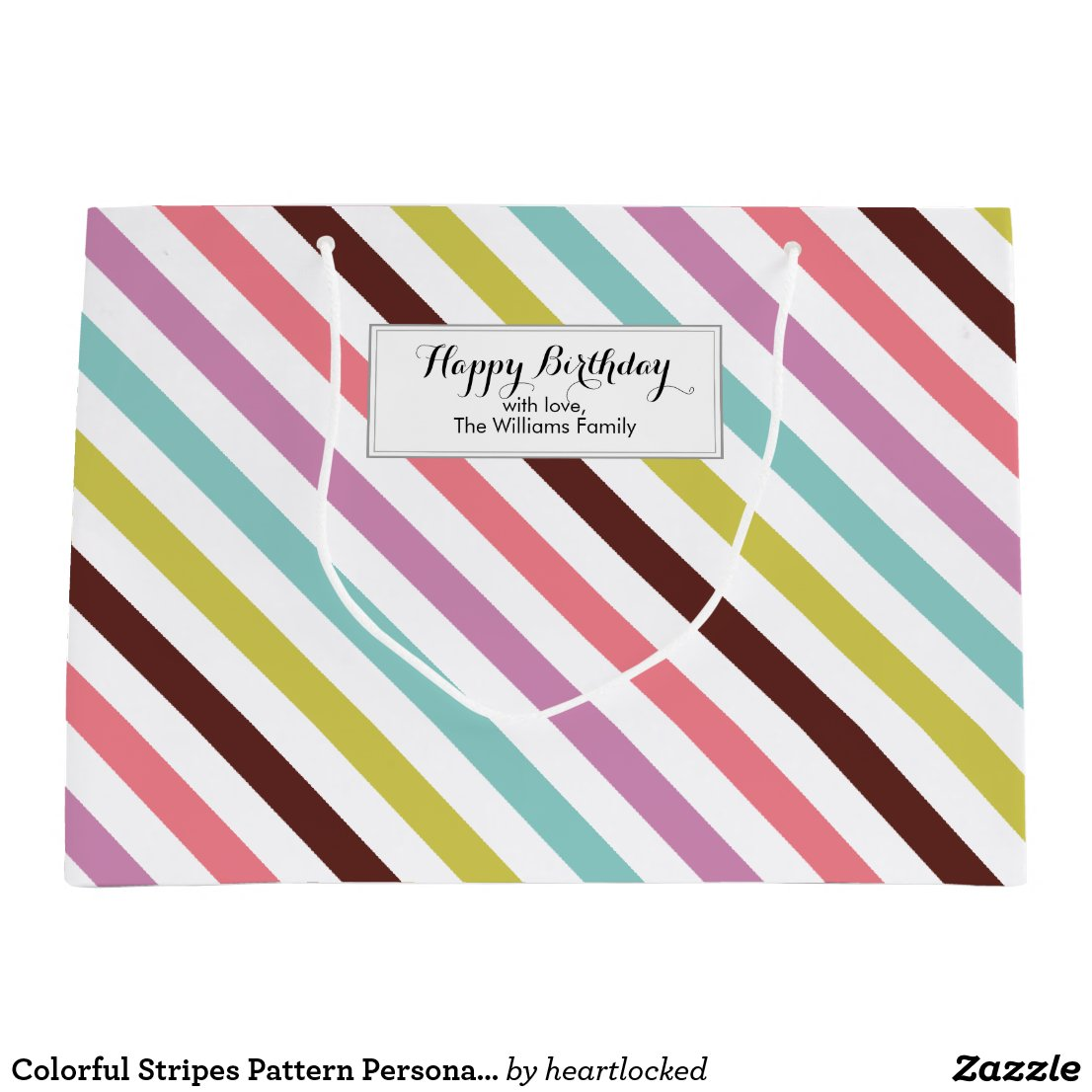 Colourful Stripes Pattern Personalised Gift Bag
