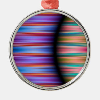 Colourful stripes pattern Silver-Colored round decoration
