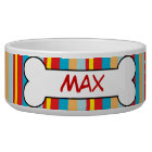 Colourful Stripes Personalised Dog Bowl Food Dish
