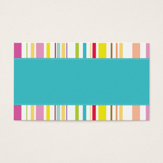 Colourful Stripes, Teal Business Card