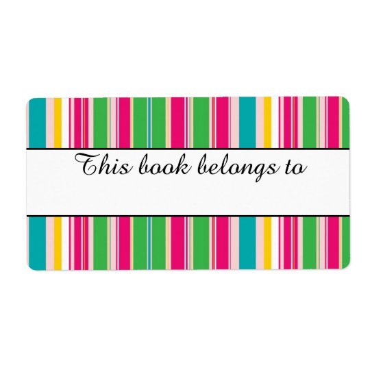 "Colourful Stripes ""This Book Belongs To"" Labels"