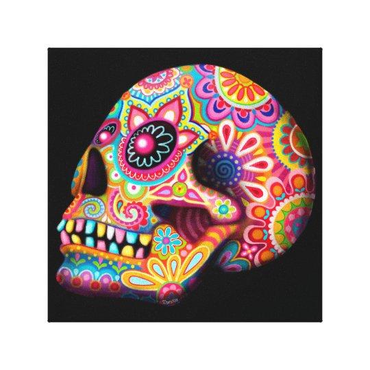 Colourful Sugar Skull Art Canvas Print