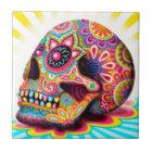 Colourful Sugar Skull Art Ceramic Tile