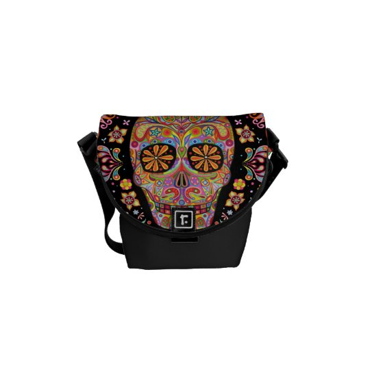 Colourful Sugar Skull Art Mini Messenger Bag