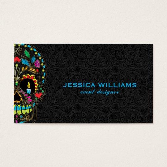 Colourful Sugar Skull & Black Paisley Business Card