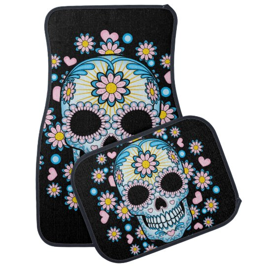 Colourful Sugar Skull Car Mat