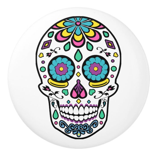 Colourful Sugar Skull Ceramic Knob