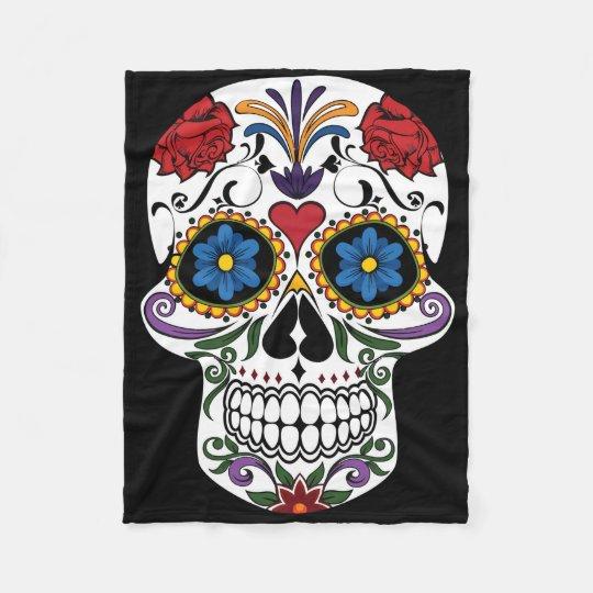 Colourful Sugar Skull Fleece Blanket