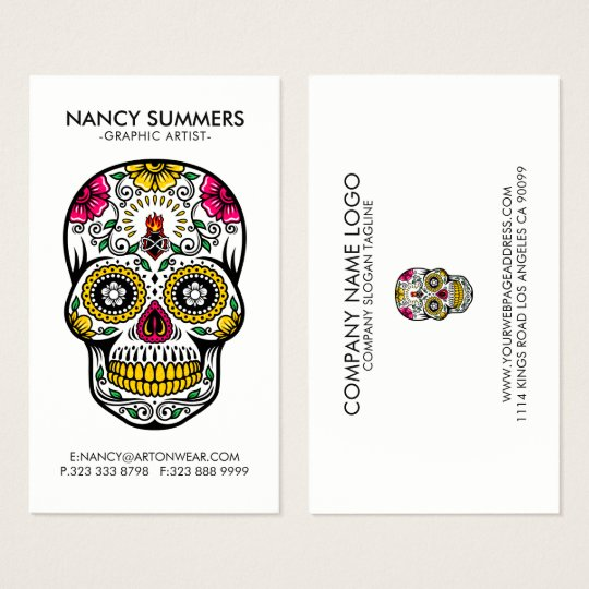 Colourful Sugar Skull Internal Flame Business Card