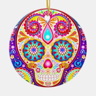 Colourful Sugar Skull Ornament - Day of the Dead
