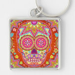 Colourful Sugar Skull with Moustache Keychain