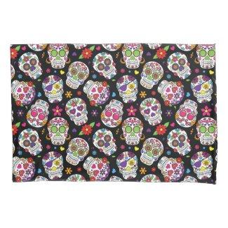 Colourful Sugar Skulls Patterned Pillowcase