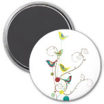 Colourful Summer Bird and Swirls Magnet
